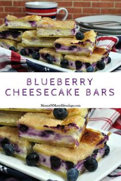 This mouth-watering blueberry cheesecake bars recipe is the most delicious and perfect recipe to use your fresh picked blueberries. Real Food Recipes, Great Recipes, Dessert Recipes, Yummy Food, Favorite Recipes, Recipe Ideas, Desserts, Tasty, Blueberry Cheesecake Bars