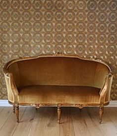 antique sofa and wallpaper
