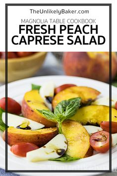 This peach caprese salad recipe is inspired by the peach caprese recipe found in the Magnolia Table Cookbook. It's a wonderful, summery twist to the traditional caprese. With summer-ripe peaches and a balsamic reduction vinaigrette, its light, bright, perfect on a summer day. #summersalad #capresesalad #magnoliatablecookbook Easy Salad Recipes, Salad Dressing Recipes, Easy Salads, Summer Salads, Snacks Recipes, Easy Summer Desserts, Summer Dessert Recipes, Dinner Recipes, Caprese Salad Recipe
