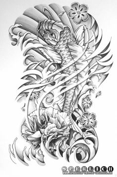 Ähnliches Foto Koi Tattoo Design, Angel Tattoo Designs, Tattoo Designs Men, Bicep Tattoo Men, Leg Tattoos, Sleeve Tattoos, Rose Tattoos, Japan Tattoo, Asia Tattoo