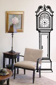 Grandfather Clock Wall Decal Custom Vinyl Art by danadecals