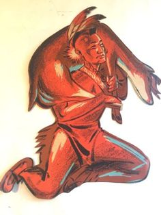 Vtg-RARE-Beistle-Halloween-Thanksgiving-Indian-Native-American-Die-Cut-Deer-Hunt