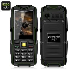 Compact GSM phone with IP67 rating, two SIM cards, a flashlight and 5200mAh battery is perfect for outdoor trips and adventures.