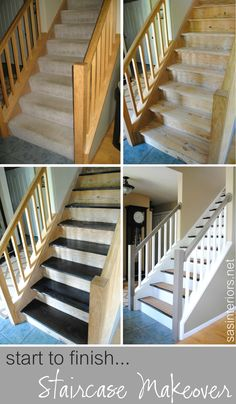 This is a wonderful carpet to wood stair makeover. Check out how she did it Remodelaholic renovation Staircase