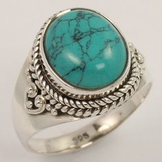 TURQUOISE (S) Gemstone 925 Sterling Silver Jewelry New Fashion Ring Size US 7.5 #Unbranded
