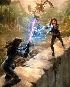 Jaina enfrentada a VestaraEn esta obra artística vemos una representación de la maestra Jedi Jaina Solo enfrentándose a la tirana y maléfica Sith Lord Vestara Khai. En un relato imaginario del Universo expandido de Star Wars.