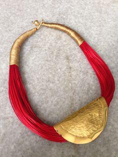 Subtly striped blossoms from Pavla Cepelikova Textile Jewelry, Fabric Jewelry, Tribal Jewelry, Bohemian Jewelry, Leather Jewelry, Beaded Jewelry, Jewelry Necklaces, Beaded Necklace, Chunky Jewelry