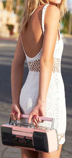Crochet is a timeless fabric. I love the sexy hippy look, you can do so much with it. I would love this dress with some tan cowboy boots and some fun gold jewelry.