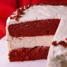 Red Velvet Cheesecake Cake Nothing screams Christmas dessert like red velvet cake. We made it even crazier by layering two cakes between a thick layer of plain cheesecake. Get the recipe at . Red Velvet Cheesecake Cake, Plain Cheesecake, Red Velvet Cheese Cake Recipe, Red Velvet Cake Moist, Red Velvet Cake Frosting, Red Velvet Desserts, Oreo Cheesecake Recipes, Red Velvet Recipes, Mexican Dessert Recipes