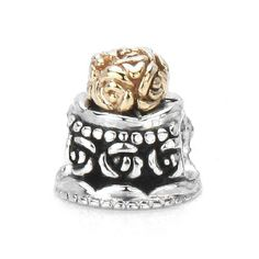 Moress Wedding / Anniversary Cake Charm with Solid 14K Gold Floral Top Layer, Solid Sterling Silver - Fits Pandora, Chamilia and other compatible brands Moress Bead Charms, http://www.amazon.com/dp/B006EVMWDW/ref=cm_sw_r_pi_dp_9ueQqb0QPX89N