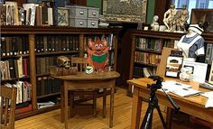 Here I am hanging out with Skull on the set of the Exeter History Minute.