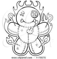Cartoon Clipart Of A Burning Voo Doo Doll