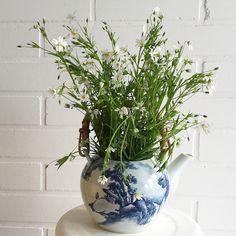 Teekanne blauweiss als Blumen Vase