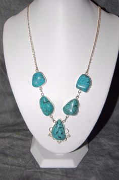 New Turquoise Sterling Silver .925 Natural Blue Nugget Necklace #Unbranded
