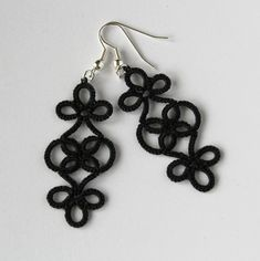 Classic black earrings, unique lace pattern, handmade jewellery » Little Black Lace