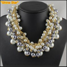 Supernova Sale Women Gold Aluminum Chain Pearl Bead Collar Choker Statement Necklaces & pendants jewelry Items(Min.Order $10)B44 US $7.56 - 7.99