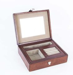 A beautiful English hand-made leather jewellery box.