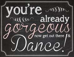 """Wedding Powder Room 'Go Dance!"""" Sign (Printable File Only); Now Go Dance!; Wedding Powder Room Signs; Encourage Guests to Dance"""