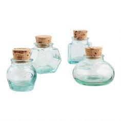 Green Recycled Glass Spice Jars, Set of 4 | World Market Spice Storage Containers, Tea Storage, Food Storage, Spice Jar Set, Glass Spice Jars, Ceramic Cookie Jar, World Market Store, Crushed Glass, Recycled Glass