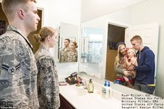 Overjoyed: Air Force veterans Ryan and Brittany Miller don uniforms and pose with their daughter, Kaelyn  in this digitally-altered photo