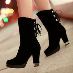 Womens Boots | Charming Chalaza Lacing Black Suede Round Closed Toe Chunky Heel High Heel Boots - Hugshoes.com