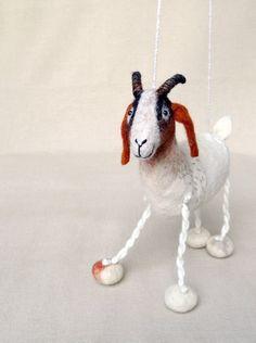 Grethe - Felt Goat. Felted Animal Art Marionette Puppet Stuffed Animals. Felted Toy. white brown reddish orange. READY TO SHIP. $60.00, via Etsy.