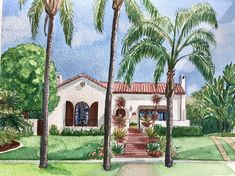 Gorgeous Spanish revival home watercolor portrait. #houseportrait House Sketch, House Drawing, Watercolor Artwork, Watercolor Portraits, Personalized Housewarming Gifts, First Home Gifts, Realtor Gifts, Cool Lighting, That Way