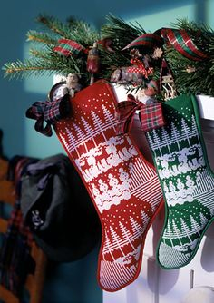 Choose your size and cross-stitch a lovely winter scene, then assemble a charming stocking.
