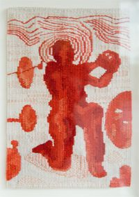 """""""Hamlet"""" Jon Cattapan 2006 Size: x cm Materials: wool, cotton Weaver: John Dicks. Tapestry Weaving, Tapestries, Art Forms, Weave, Workshop, Things To Come, Fine Art, Wool, Cotton"""