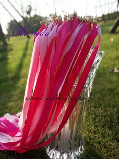 FREE SHIPPING  (50Pieces/Lot) fusha and pink ribbon wedding wands with gold bell Wedding Ribbon Stick,ribbon Twirling Streamers-in Event & Party Supplies from Home & Garden on Aliexpress.com | Alibaba Group