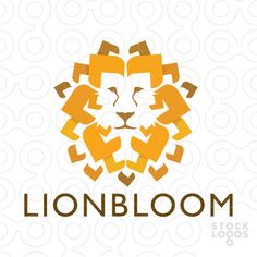 Modern interpretation of a lion's face with the lion's mane designed with…