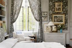 floral French bedroom in brown-gray-white ~ Charles Spada design
