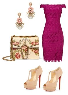 """""""Outfit of the day"""" by shinella-blair-harris on Polyvore featuring Adrianna Papell, Christian Louboutin, Gucci and shinellasfashion"""