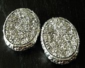"PAIR Large SILVER Oval Druzy plugs gauges pair 1/2"" - 12mm 9/16"" - 14mm 5/8"" - 16mm"