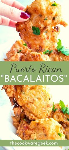 Puerto Rican Bacalaitos (Codfish Fritters) - The Cookware Geek - - Puerto Rican bacalaitos are one of the most flavorful appetizers out there. Easy codfish fritters made with everyday ingredients. Puerto Rican Mofongo Recipe, Puerto Rican Recipes, Puerto Rican Dishes, Puerto Rican Cuisine, Puerto Rican Chicken, Fish Recipes, Seafood Recipes, Cooking Recipes, Cuban Food Recipes