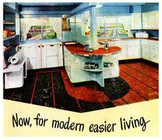The Kentile Way, 1947 (I love the built-in mangle. I have a working mangle! Vintage Room, Vintage Kitchen, Vintage Decor, Retro Vintage, 1940s Kitchen, Kitchen Ware, Kitchen Stuff, Country Kitchen, Kitchen Ideas