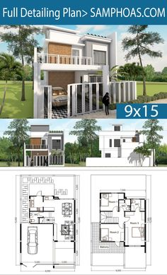 Samphoas House Plan is Free House Design Plan with PDF JPG AutoCAd and Sketchup Files. 6 Bedroom House Plans, Duplex House Plans, Modern House Plans, House Floor Plans, Free House Design, Small House Design, The Plan, How To Plan, Narrow House Designs
