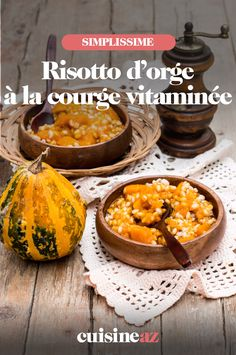 Originale cette recette vitaminée de risotto qui se cuisine avec de l'orgeperlé à la place du riz. La courge enrichit la préparation.#recette#cuisine#risotto#courge#orgeperlé
