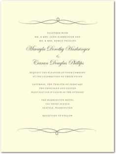 Thermography Wedding Invitations Elegant Ardor - Front : TH Charcoal