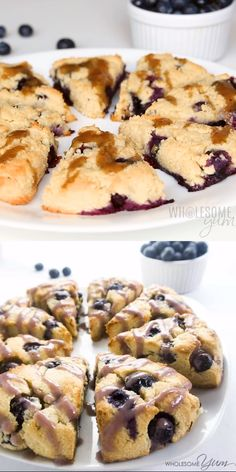 Blueberry Scones Recipe – Easy, Paleo, Low Carb, Sugar-Free – These paleo, low carb scones are bursting with juicy fresh blueberries & topped with natural blueberry glaze. You'll love this easy blueberry scones recipe! Low Carb Soup Recipes, Low Sugar Recipes, No Sugar Foods, Keto Recipes, Lunch Recipes, Low Sugar Meals, Low Sugar Diet, Shrimp Recipes, Dinner Recipes