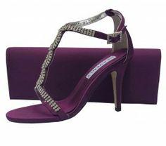 Aubergine Purple Evening Sandals. Purple Wedding Shoes
