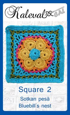 Crochet Granny Squares Design Kalevala CAL crochet-along, square Join in the blanket cal by Finnish crochet designers Granny Square Crochet Pattern, Crochet Squares, Crochet Granny, Crochet Motif, Crochet Stitches, Granny Squares, Crochet Afghans, Plaid Crochet, Crochet Baby Boots
