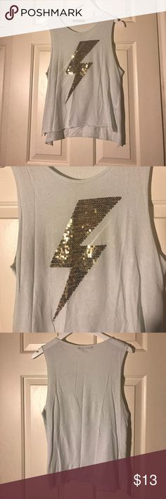 Sequin Bolt Muscle Tee White muscle tee/tank with a gold sequin lightning bolt design. Perfect summer top! Tops Muscle Tees