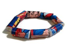 Superman Comic Bracelet - Paper Beads,Made from Repurposed Comic Book - by PurpleSmoothie, $6.50  #comic #paperbeads #superman