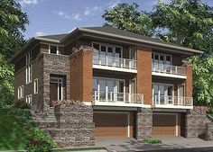 Contemporary 4 unit apartment house plan   multi family house plan     Elevation  2