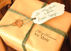 Holiday Gift Wrap, plain paper+Twine+Rubber Stamp+Metallic Hot Glue or Wax+ Seal stamp with decorative tag!
