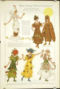 """A variety of cute, nature inspired fancy dress costumes from Ladies' Home Journal, 1911."""