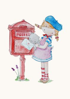 From Paris With Love Poppy at the Post Box Watercolour Art Print via Etsy