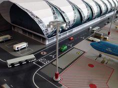 No Point Airport - Diorama Airport BKK (Bangkok) series 'look-a-like'. Terminal - Concourse C Model Building Kits, Model Kits, Lego City Airport, Cardboard Play, Model Trains, Aviation, Ideas, Airports, Dioramas