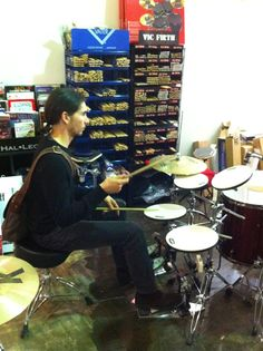 Daniel Farrugia one of Australia's most in demand drummers visits Revolver Drums and does some practice